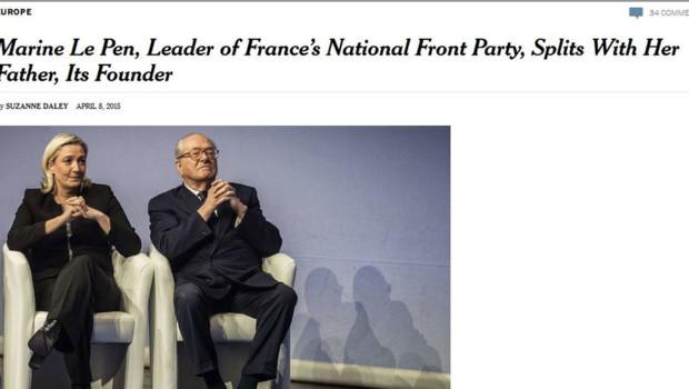 Article du New York Times sur la crise au FN, 9/4/15