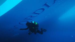 Plongeur participant aux recherches dans l'épave du Costa Concordia (19/01/2012)