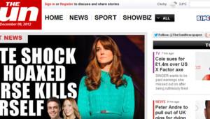 La Une du site du Sun le samedi 8 décembre 2012 au lendemain de la découverte du corps de l'infirmière victime d'un canular médiatique concernant l'état de santé de Kate Middleton.