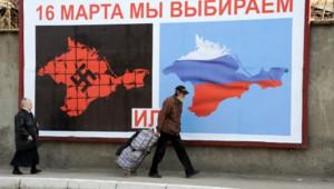 Crimée : affiche pour le référendum du 16/3/14 vantant le rattachement à la Russie