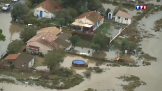 L'Hérault sous les eaux filmé depuis un hélicoptère