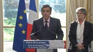 François Fillon lors des voeux à la presse de janvier 2011