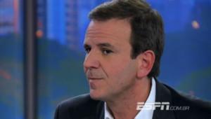 Eduardo Paes, maire de Rio de Janeiro, lors d'une interview diffusée sur ESPN. Août 2013.