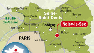 Carte de localisation de Noisy-le-Sec, en Seine-St-Denis