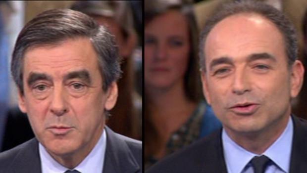 François Fillon et Jean-François Copé lors du débat télévisé du 25 octobre 2012 sur France 2.