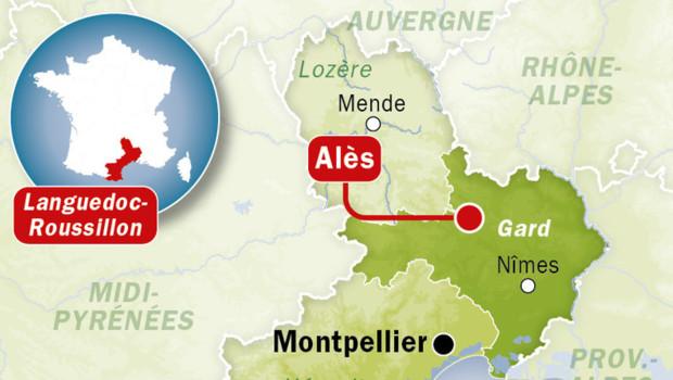 Carte de localisation d'Alès, dans le Gard