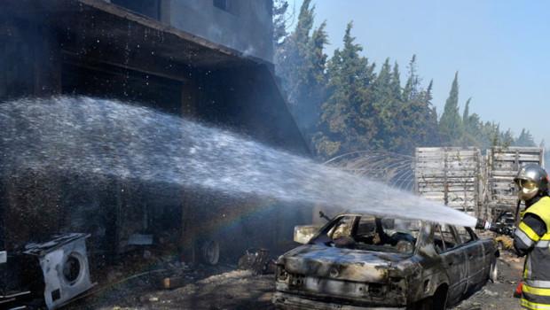 Les dégâts sur la commune d'Orgon, dans les Bouches du Rhône, après l'incendie, 26 août 2012.