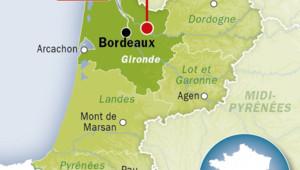 Carte de Libourne, en Gironde.