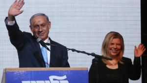 Benjamin Netanyahu, avec sa femme, le 17 mars 2015