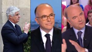 Philippe Martin (AFP), Bernard Cazeneuve (sur TF1) et Pierre Moscovici (sur Canal+)