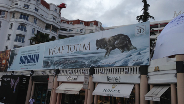 Une affiche du film &quot;Wolf Totem&quot; de Jean-Jacques Annaud  Cannes 2013
