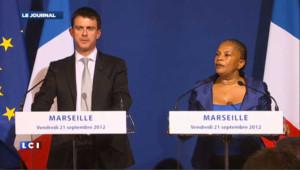 Valls et Taubira enterrent la hâche de guerre le temps d'un déplacement à Marseille