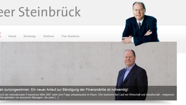 Capture d'écran du site Internet de Peer Steinbrück, 28/9/12