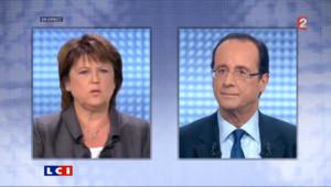 Duel entre Aubry et Hollande sur la règle d'or : les images