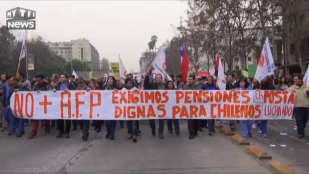 Chili : manifestation monstre à Santiago contre le système de pensions privées