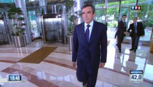 François Fillon arrive à TF1 au soir du premier tour des législatives, le 10 juin 2012
