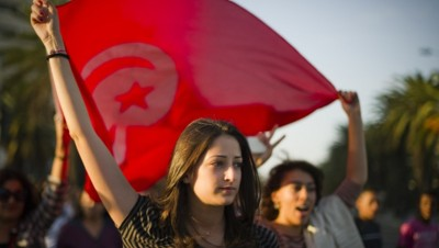 Tunisie manifestation drapeau illustration