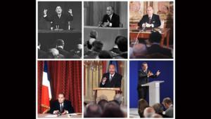 Les président de la Ve République lors de leur conférence devant la presse.