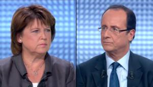 François Hollande et Martine Aubry le 12 octobre 2011 lors de leur débat sur France 2 entre les deux tours de la primaire PS