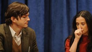 La comédienne Demi Moore et l'acteur Ashton Kutcher lors d'une conférence de presse destinée à la Fondation des Nations Unies à New York, le 4 november 2011.