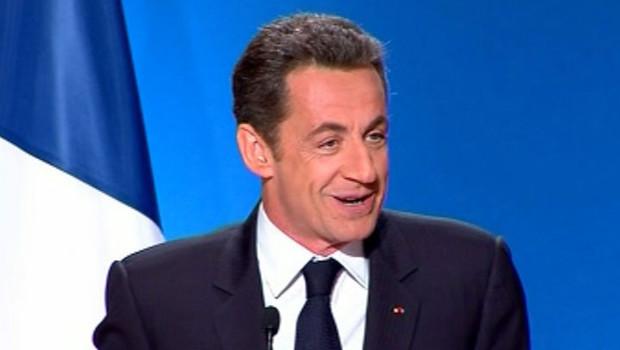 Nicolas Sarkozy lors de ses voeux à la presse (8 janvier 2008)