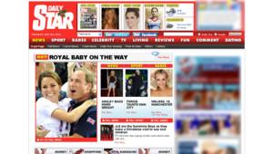 Capture d'écran du site du Daily star, au lendemain de l'annonce de la grossesse de Kate Middleton.