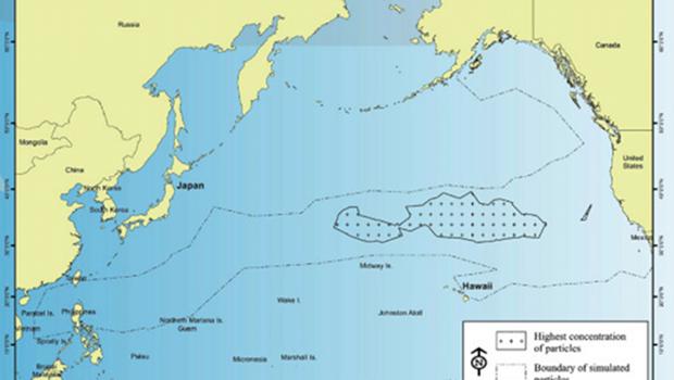 Carte des débris arrachés aux côtes japonaises par le tsunami du 11 mars 2011 et dérivant à travers le Pacifique (mars 2013)