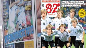 Euro 2012 : Une du journal allemand BZ et du journal grec Sport Day avant le quart de finale Allemagne-Grèce, 22/6/12