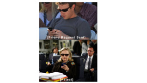 "Hillary Clinton Mark Zuckerberg, héros du blog ""Texts from Hillary""."