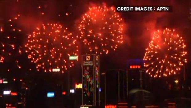 Les images du feu d'artifice de Hong Kong pour la journée de la lune