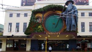 Un cinéma du centre de Wellington aux couleurs du film Le Hobbit : un voyage inattendu de Peter Jackson