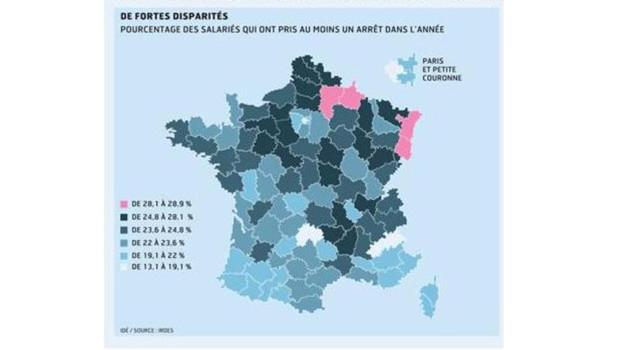 La carte des disparités des congés maladie par département