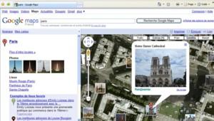 Capture écran de Google map, avec vue de Paris