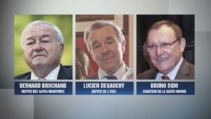 Bernard Brochand, Lucien Degauchy et Bruno Sido, députés UMP, soupçonnés de ne pas avoir déclaré des comptes à l'étranger