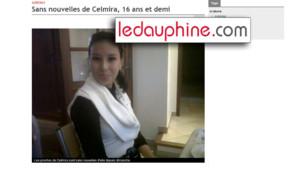 Capture écran de l'article publié sur le site du Dauphiné Libéré et annonçant la disparition de Celmira, 16 ans et demi (5 juillet 2011)