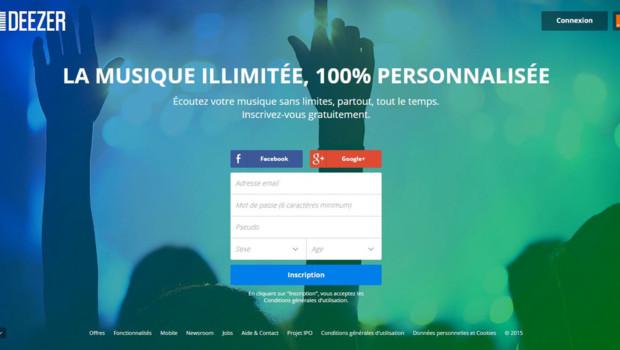 Deezer page d'accueil