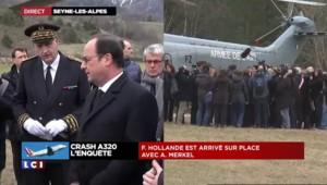 Crash dans les Alpes : Hollande et Merkel sont arrivés sur place