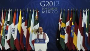 Le président mexicain, Felipe Calderon, s'exprime avant l'ouverture du G20 de Los Cabos, le 16 juin 2012.