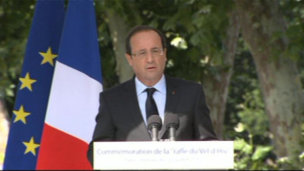 François Hollande à Paris lors de la commémoration de la rafle du Vel d'Hiv (22 juillet 2012)