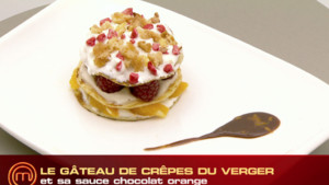 Le gâteau de crêpes du verger, sa sauce chocolat orange