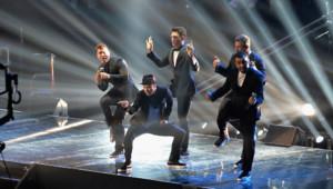 Justin Timberlake a retrouvé son ancien groupe, les *NSYNC, lors de la cérémonie des MTV VMAs, le 25 août 2013 à New York.