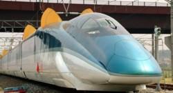 Voici une des dernières versions du Shinkansen, le train à grande vitesse japonais