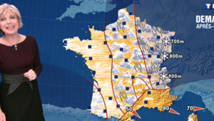 Evelyne Dhéliat présente la météo le 17 décembre 2012 sur TF1.