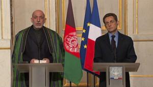 Hamid Karzaï et Nicolas Sarkozy, le 27/1/12, à l'Elysée