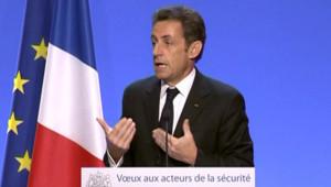 Nicolas Sarkozy, lors de ses voeux aux forces de sécurité le 14 janvier 2009