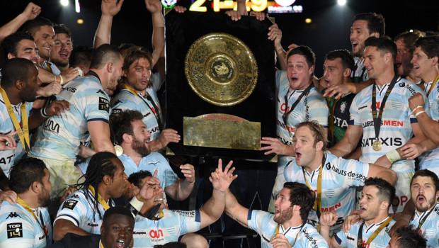 Les joueurs du Racing Metro 92 célébrant leur titre de champion de France le 24 juin 2016.