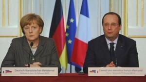 Angela Merkel et François Hollande lors du conseil franco-allemand