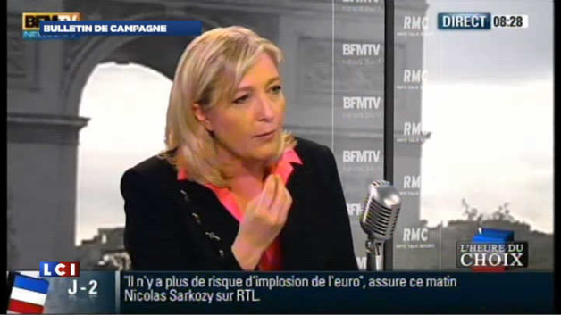 Marine Le Pen : les propos de son pre, une &quot;mauvaise blague&quot;