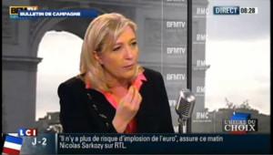 """Marine Le Pen : les propos de son père, une """"mauvaise blague"""""""