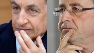 Nicolas Sarkozy et François Hollande, les deux qualifiés pour le second tour de l'élection présidentielle.